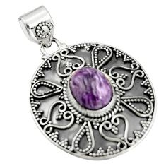 5.34cts natural purple charoite (siberian) 925 sterling silver pendant r20242