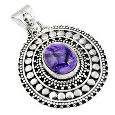 5.01cts natural purple charoite (siberian) 925 sterling silver pendant r20247