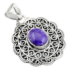4.38cts natural purple charoite (siberian) 925 sterling silver pendant r20248
