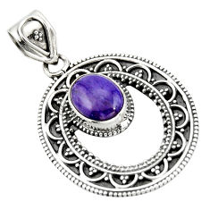 4.02cts natural purple charoite (siberian) 925 sterling silver pendant r20250