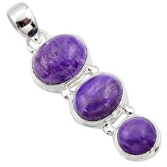 12.07cts natural purple charoite (siberian) 925 sterling silver pendant r39641