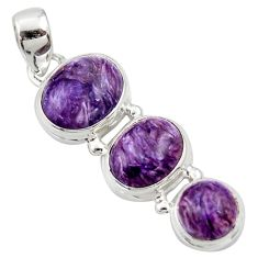 11.21cts natural purple charoite (siberian) 925 sterling silver pendant r39654