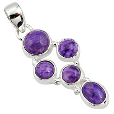 8.45cts natural purple charoite (siberian) 925 sterling silver pendant r39665