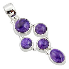 8.10cts natural purple charoite (siberian) 925 sterling silver pendant r39671