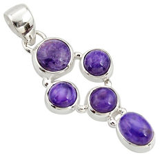 8.03cts natural purple charoite (siberian) 925 sterling silver pendant r39677