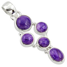 8.05cts natural purple charoite (siberian) 925 sterling silver pendant r39678