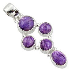 8.05cts natural purple charoite (siberian) 925 sterling silver pendant r39679
