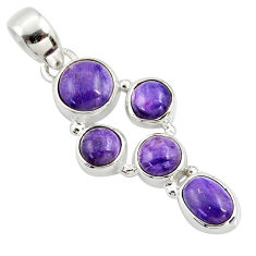 7.50cts natural purple charoite (siberian) 925 sterling silver pendant r39801