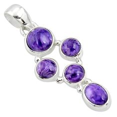 7.79cts natural purple charoite (siberian) 925 sterling silver pendant r39802