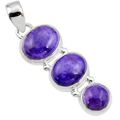 12.67cts natural purple charoite (siberian) 925 sterling silver pendant r45022