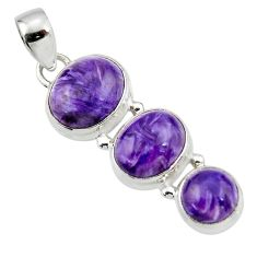 12.83cts natural purple charoite (siberian) 925 sterling silver pendant r45023