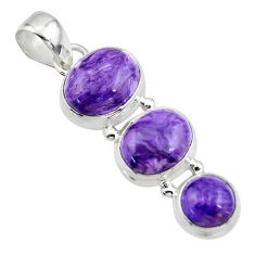 12.67cts natural purple charoite (siberian) 925 sterling silver pendant r45024