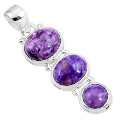 15.55cts natural purple charoite (siberian) 925 sterling silver pendant r47164