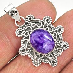 4.43cts natural purple charoite (siberian) 925 sterling silver pendant r85090