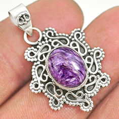 4.18cts natural purple charoite (siberian) 925 sterling silver pendant r85093