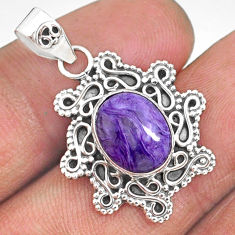 4.34cts natural purple charoite (siberian) 925 sterling silver pendant r85095