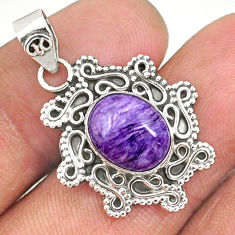 4.34cts natural purple charoite (siberian) 925 sterling silver pendant r85096