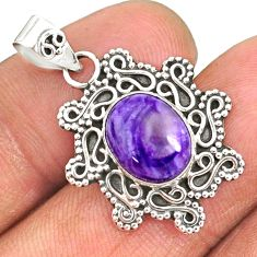 4.71cts natural purple charoite (siberian) 925 sterling silver pendant r85110