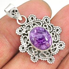 4.71cts natural purple charoite (siberian) 925 sterling silver pendant r85114