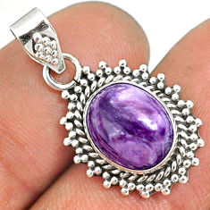 4.53cts natural purple charoite (siberian) 925 sterling silver pendant r85155