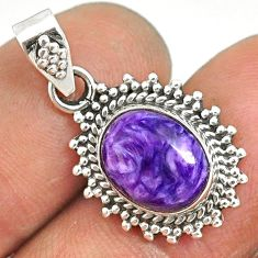 4.58cts natural purple charoite (siberian) 925 sterling silver pendant r85158