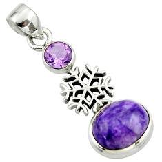 6.69cts natural purple charoite (siberian) amethyst 925 silver pendant r44162