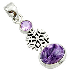 6.48cts natural purple charoite (siberian) amethyst 925 silver pendant r44163