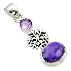 6.02cts natural purple charoite (siberian) amethyst 925 silver pendant r44164