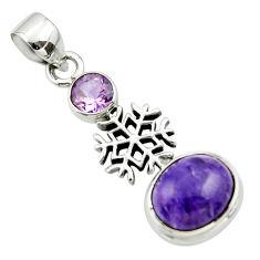 6.29cts natural purple charoite (siberian) amethyst 925 silver pendant r44165