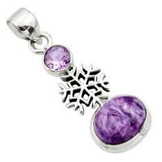 6.23cts natural purple charoite (siberian) amethyst 925 silver pendant r44174