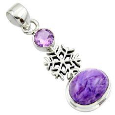 6.37cts natural purple charoite (siberian) amethyst 925 silver pendant r44175