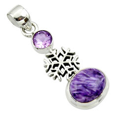 6.12cts natural purple charoite (siberian) amethyst 925 silver pendant r44176