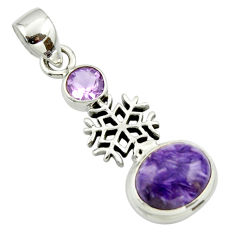 6.34cts natural purple charoite (siberian) amethyst 925 silver pendant r44177