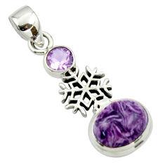 6.02cts natural purple charoite (siberian) amethyst 925 silver pendant r44179