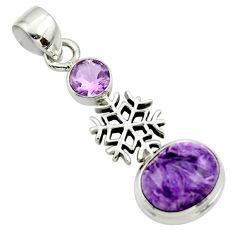 6.23cts natural purple charoite (siberian) amethyst 925 silver pendant r44180