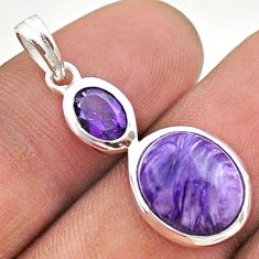 7.24cts natural purple charoite (siberian) amethyst 925 silver pendant t43112