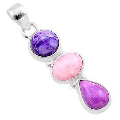 9.25cts natural purple charoite (siberian) morganite 925 silver pendant t48456