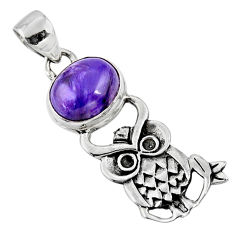 5.11cts natural purple charoite (siberian) oval 925 silver owl pendant r52936