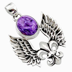 5.38cts natural purple charoite (siberian) silver feather charm pendant r52865