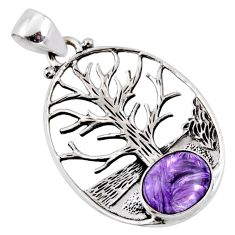 5.27cts natural purple charoite (siberian) silver tree of life pendant r52989