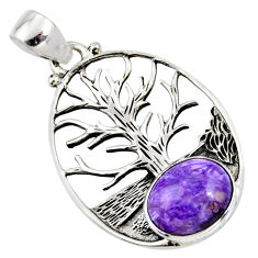 5.28cts natural purple charoite (siberian) silver tree of life pendant r53001
