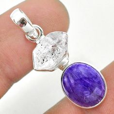8.84cts natural purple charoite herkimer diamond 925 silver pendant t49141