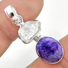 8.56cts natural purple charoite herkimer diamond 925 silver pendant t49142