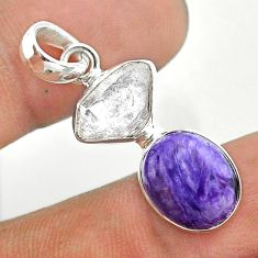 8.95cts natural purple charoite herkimer diamond 925 silver pendant t49143
