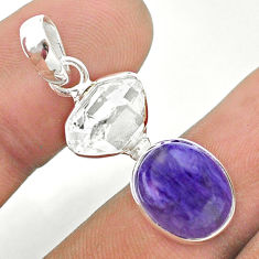 9.41cts natural purple charoite herkimer diamond 925 silver pendant t49147