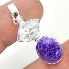 8.95cts natural purple charoite herkimer diamond 925 silver pendant t49153