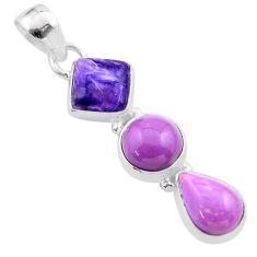 9.25cts natural purple charoite phosphosiderite 925 silver pendant t48474