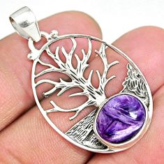 5.16cts natural purple charoite siberian 925 silver tree of life pendant r90426