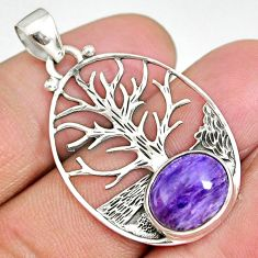 5.16cts natural purple charoite siberian 925 silver tree of life pendant r90427