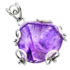 22.30cts natural purple chevron amethyst 925 sterling silver pendant t31877